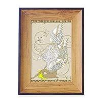 花の翼日本浮世絵の葉 フォトフレーム、デスクトップ、木製