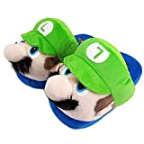 Zapatillas de casa de felpa Super Mario y Luigi - Cariño caliente para el hogar - Zapatillas divertidas para adultos y niños - Tamaño unisex 36-45 (Luigi)