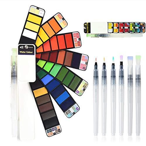 CALISTOUK Juego de Pintura de Acuarela 42 Colores con 6 Piezas Juego de Pincel de Acuarela Set de Pintura de Acuarela sólida portatiles para artículos de Arte