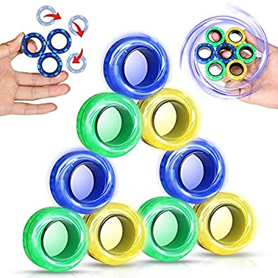 Amazon - 55% Off on 9Pcs Magnetic Fidget Rings, Magnetic Rings Fidget Toy for Practice Finger Flexibility