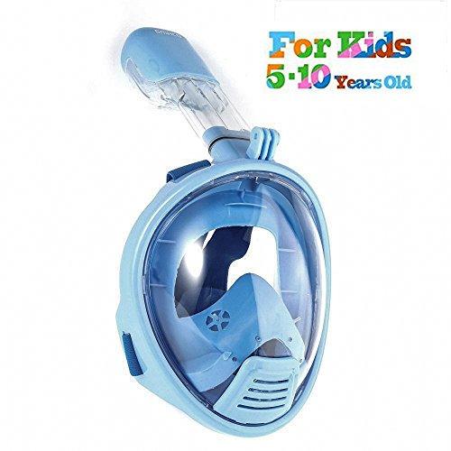 ROADWI 180 Panorama-Sicht Schnorchelmaske, Anti-Beschlag-Schutz Kompatibel mit Action Kamera-Halterung,Easybreath Tauchmaske Vollgesichtsmaske Schnorchelmaske für Erwachsene und Kinder(XS)