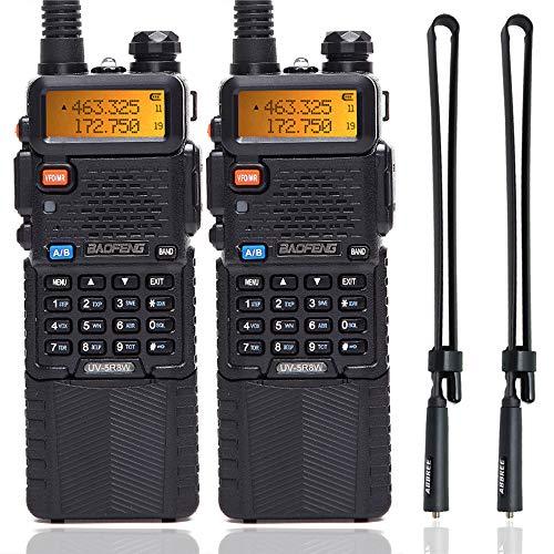 2 Pack BaoFeng UV-5R 8W High Power Tri-Power 1W/4W/8W Portable Dual Band Two-Way Radio 3800mAh Battery & ABBREE Tactical Antenna (2pcs 5R8W+28.3