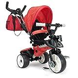 INJUSA - 8 Triciclo City Max para Bebés desde los 6 Meses con Mango para Control Parental de Dirección, color rojo (3271)