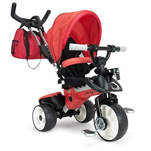Driewieler in het rood voor kinderen vanaf 6 maanden met anti-slip pedalen en tas Trike City Max Red Line