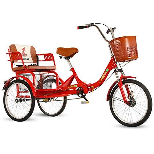 ZNND Bicicletas reclinadas Triciclo para Personas Mayores Bicicleta De 3 Ruedas con Asiento Trasero Y Cesta Compra Grande Trike Adulto Dual Freno Horquilla Delantera Amortiguadora (Color : Red)
