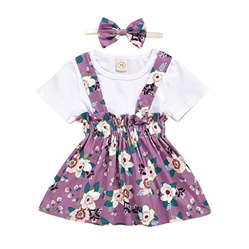 sunnymi Bekleidungssets für Baby Mädchen,0-3 Jahre Kinderanzug Sommer New Mädchen's Top Kurzer Rock Schmetterling Dreiteiliger Anzug