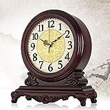 UWY Reloj de Mesa de Alta Gama, Relojes de sobremesa clásicos de Madera, decoración de la antigüedad clásica, de pie, sin tictac, Relojes de Escritorio y estantes de Cuarzo, Regalo (38 cm * 34)