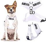 Blind Dog (Hund Hat Limited/keine Sight) weiß Farbe Kodiert non-pull Vorder- und Rückseite D-Ring gepolstert und wasserdicht Weste Hundegeschirr verhindert Unfälle durch vorwarnen anderer Hunde in Advance ( kleine Hals bis zu 31 cm Brust 36-58cm)