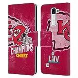 Head Case Designs Oficial NFL Kansas City Chiefs 2020 Superbowl Liv Champions Carcasa de Cuero Tipo Libro Compatible con LG K8 / Phoenix 2