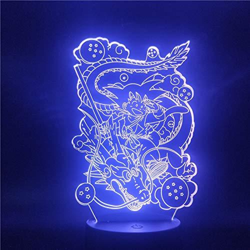 sanzangtang LED Nachtlicht-3D-sieben Farben-Fernbedienung Anime Drachen Figur Lampe kreative Kinder Nachtlicht Schlafzimmer Spielzeug Geschenk TischlampeNachtlicht