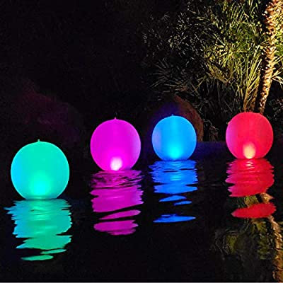 Esuper Floating Ball Pool Light Solar Powered 4 PCS, 14 Inch Inflatable Hangable IP68 Waterproof Rechargeable 4 Color Changing Led Glow Globe Pool Night Lamp for Garden, Backyard,Pond, Party Decor