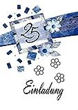 Einladungskarten silberne Hochzeit mit Innentext Motiv Silberhochzeit blaue Blumen 10 Klappkarten DIN A6 im Hochformat mit weißen Umschlägen im Set Einladung Silberhochzeit 25 Jahre verheiratet K100