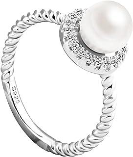 Hosaire Anillo de Plata de Anillo Grande de Diamantes Con estilo y elegante mujeres de Apertura Metal-Ajustable Nuevo Estilo Tama/ño 9 Azul Cielo