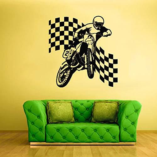 Bike Finish Vlag motorfiets muursticker voor jongens slaapkamer Bobby Vinyl verwijderbaar wallpaper decals woonkamer poster wandafbeeldingen 57x57 cm