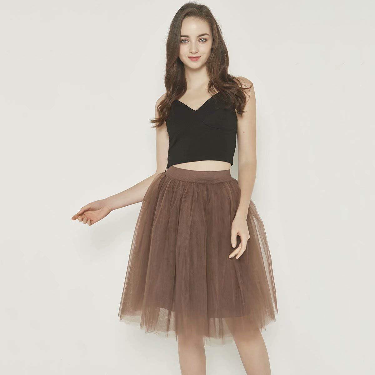 UZN Womens 50s Puffy Tulle Skirts Tutu Stretch Waist Half Slip 5 Layers Retro Party Skirt