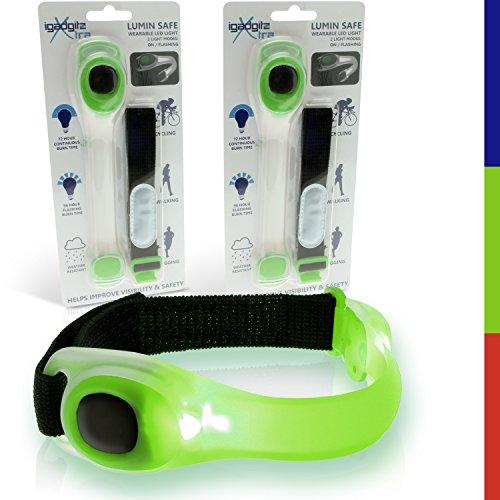 igadgitz Xtra U4381-KIT Lumin Safe Riflettenti Hi Vis Fascia da Braccio Strap Impermeabile Regolabile Silicone con Lampeggiante del LED - 2 x Verde