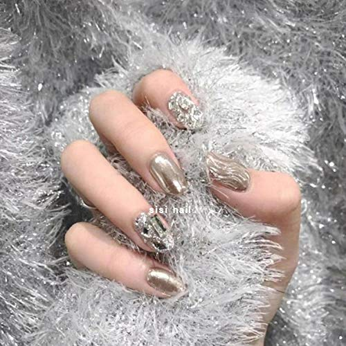 SRTYH Uñas postizas,manicura acabado espejo agua ondulación pegatinas de uñas uñas de boda de diamante completo brillantes pegatinas de uñas falsas-elipsoide medio largo