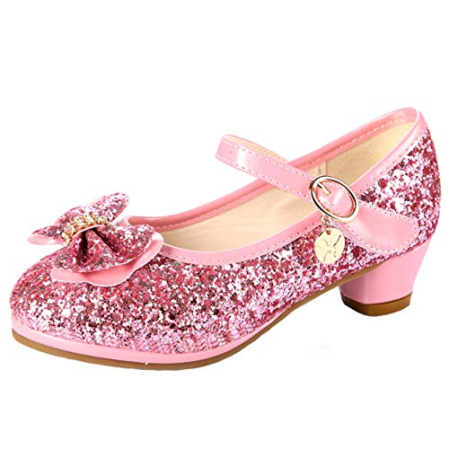 YOSICIL Mädchen Prinzessin Schuhe ELSA Schuhe mit Absatz Anhänger Kristall Schuhe Partei Glitzer Pumps Festliche Schuhe Karneval Party Aufführung Fasching Kostüm Zubehör Schuhe