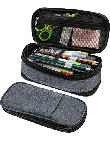 Trousse Scolaire Crayon de grande capacité Étui Max à 50 stylos ou 90 crayons,Office College School Grand rangement Sac de grande capacité Porte-pochette Organisateur de boîte Gris.