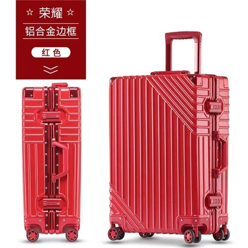 Mdsfe 20/24/26 / 29inch RetroABS + PC aluminum fram rolling luggage trolley Luggage travel Suitcase Universal wheel - red, 26'
