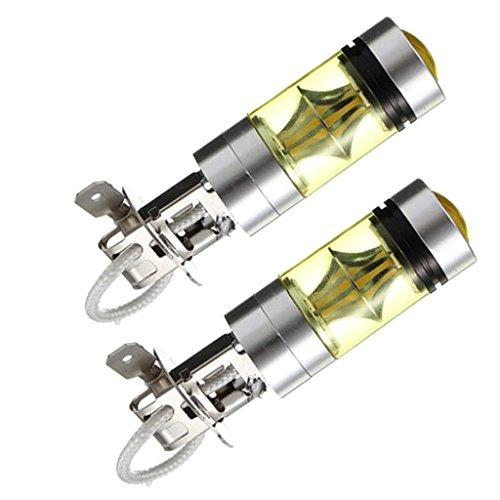 #N/a 2pcs 100w H3 2323 Led 4300K Foco Bombillas Antiniebla Amarillas