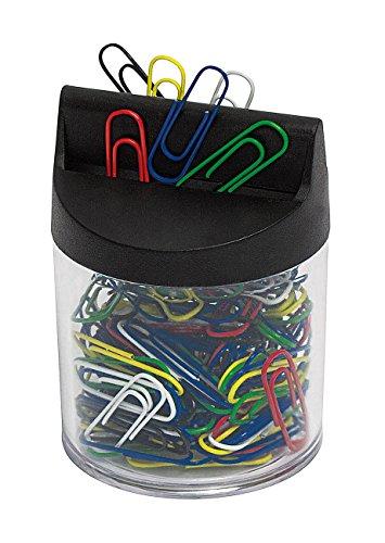 Wedo 2705199 Klammernspender (mit Magnet rund gefüllt, 125 Büroklammern) transparent