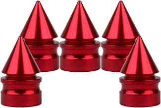 Senzeal 5X Impale Spike Style Polished Aluminum Alloy Tire Valve Caps Red