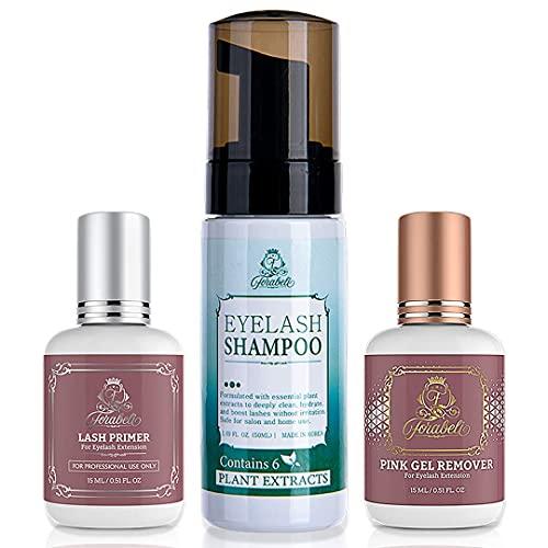 Lash Shampoo + Primer + Remover Bundle Forabeli | Lash foam Cleanser, Eyelash Extension Primer and Gel Glue Remover | Protein Oil Remover Eye Lash | Lashes Cleanser Professional eyelashes supplies