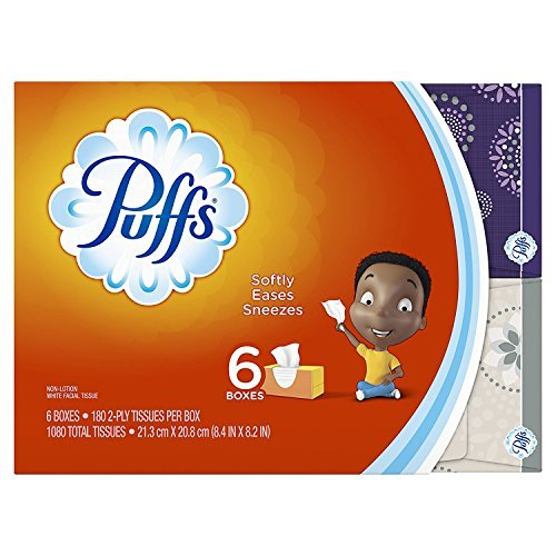 Puffs Everyday Basic Facial Tissues - 180 ct - 6 Pack (Packaging May Vary)