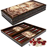 PrimoLiving Deluxe Holz Backgammon Set PLATON im XXL Format 50x50 cm -