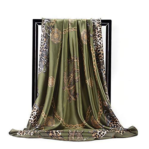 Bufanda Cuadrada Grande Con Estampado De Leopardo Retro De Moda Con Estampado De Cadena, Bufanda De Seda De Imitación Para Mujer