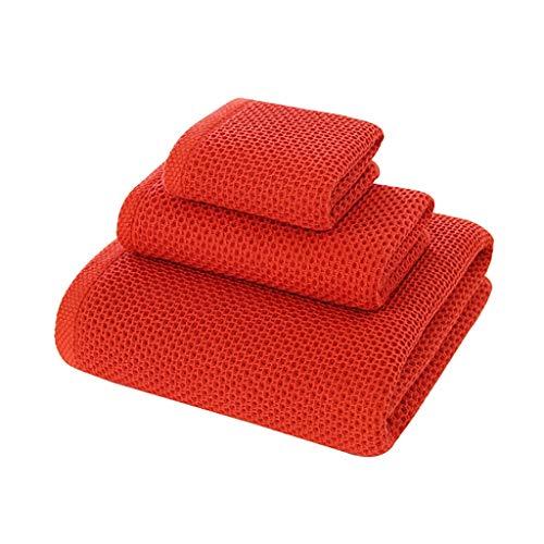 WYH Toallas de Mano Toalla de Playa Toallas de Baño Altamente Absorbente de Secado Rápido Suave de Algodón Puro Color Baño Toallas Gimnasia de Los Deportes (3 Pack) Secado rápido (Color : Red)
