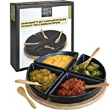 Moritz & Moritz Serving Platters Set - Bamboo Tray with Black Ceramic Bowls and Spoons - for Dips Snacks and Starters