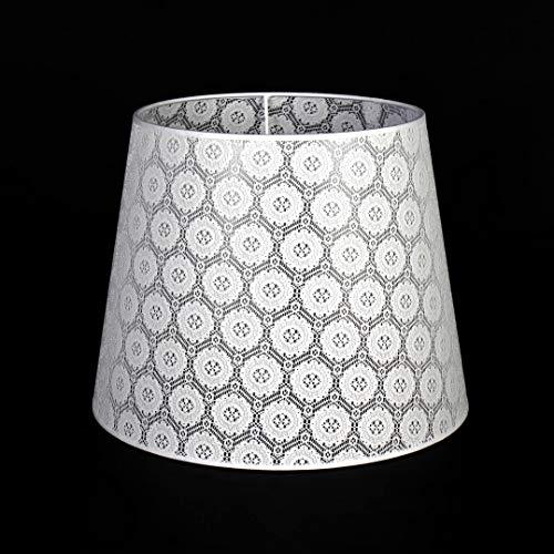 Grote lampenkap wit van gehaakt kant voor vloerlamp E27 Ø38cm conische stoffen kap vloerlamp