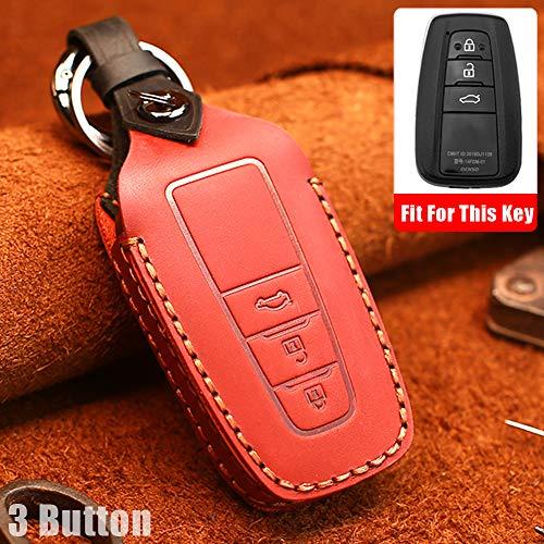 Funda protectora para llave de coche con mando a distancia para Toyota Camry CHR Prius Corolla RAV4 Prado 3 botones de cuero inteligente llave de entrada sin llave (rojo)