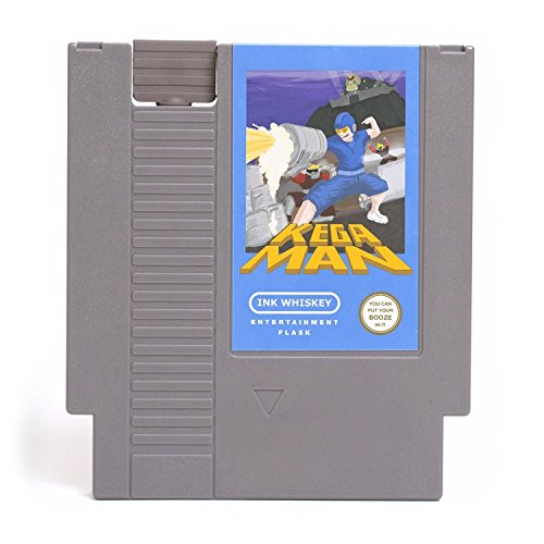 Ink Whiskey Concealable Entertainment System Flask  Looks Like a Retro Video Game Cartridge  buts its a Flask with a Hilarious Label (Kega Man)