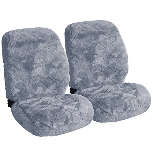 WOLTU AS7334sb-2 Lammfellbezug Auto Sitzbezug Echtlammfell Vollbezug Vordersitzbezug universal Größe, Feste Wolle, 2er Set, ca. 1.8 cm Dicke, Silber