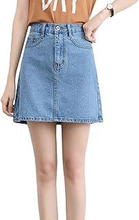 JKoYu Women Skirts School Office Summer Bodycon A-Line High Waist Jeans Denim Mini Skirt