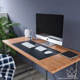 Uncrowned Kings Desk Pad - 35.4 X 17.7 Inches Premium Home Office Desk Mat Protector for Wooden/Glass Desktops - Black Vegan Leather - Waterproof - Extended Mouse Pad-Smooth for Writing – Desk Blotter