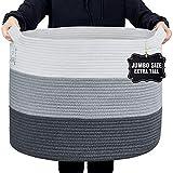 Nunus Home, Jumbo Woven Cotton Rope Basket (22'x22'x16') Blanket Basket, Blanket storage, Large Baskets for Blankets, Blanket Basket Living Room, Storage basket, Baskets for Organizing, 3 color grey