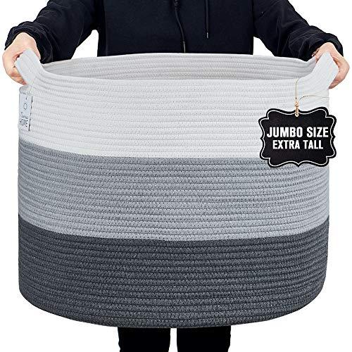 Nunus Home, Jumbo Woven Cotton Rope Basket (22'x22'x16') Blanket Basket, Blanket storage, Large Baskets for Blankets, Blanket Basket Living Room, Storage basket, Baskets for Organizing, Grey 3 shades