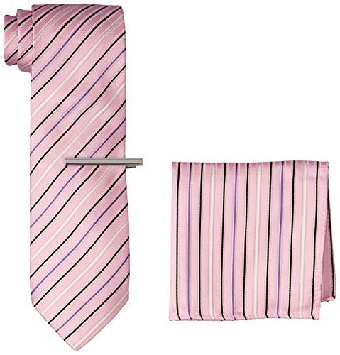 [ドレスコード101] ネクタイ&ネクタイピン&ポケットチーフ 3点セット 飛び出すボックス付 結 TIE メンズ ストライプ×ピンク 日本 ネクタイ幅8cm (FREE サイズ)