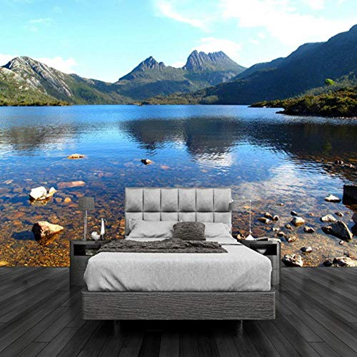 MAZF Any Size 3D Mural Wallpaper Beautiful Lake Mountain Stream Nature Landscape Mural Modern Bedside Home Decor 3D Panel Wall
