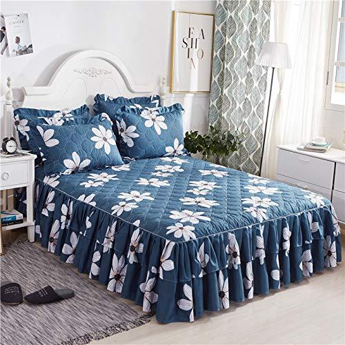 CQZM Drucken Gesteppter Bettvolant Doppelschicht Mit Rüschen Bettrock Tagesdecke Elastische Single Double Bed Skirt Anti-Allergie Für Schlafzimmer Wohnheim EtcA-150x200cm(59x79inch)