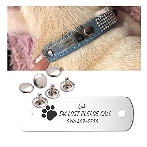 Wallwow Rivet-on Custom Dog ID Tags,Cat ID Tags,Personalized Engraved Pet ID Tags, Stainless Steel,NO Noise Collar Tags
