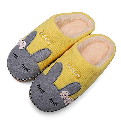 Mishansha Zapatillas De Estar por Casa para Mujer Suave Algodón Invierno Pantuflas Casa Cómodas Suave Slippers Amarillo Gr 35/36 EU (Tamaño del Fabricante 36/37EU)