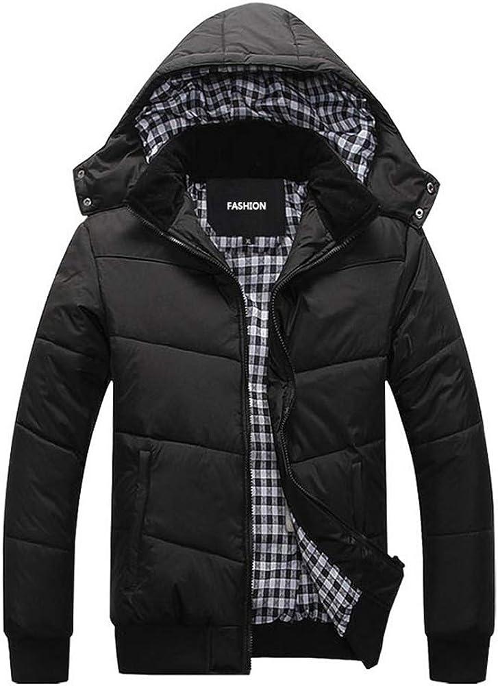 Arlita Men's Winter Warm Thicken Puffer Cotton Coat Jacket with Removable Hood