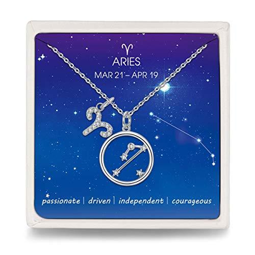 Qings Kette 925 Silber Widder Sternzeichen Halskette mit Kreis Stern Zirkonia Anhänger, Mode Sternbild Schmuck für Damen Frauen Mädchen