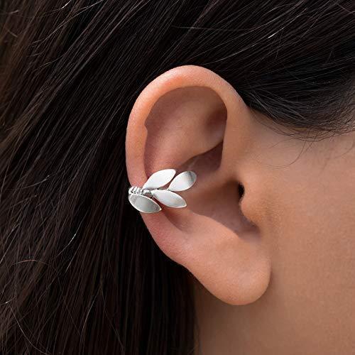Elfo oreja brazalete, arete de hoja de oreja pendiente, plata pendiente puño, rosa de oro oreja puño no piercing aretes de plata brazalete no perforado oreja puño