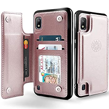 Shields Up Galaxy A10 Wallet Case with Card Holder and Kickstand Premium Vegan Leather Case Protective Flip Cover with Magnetic Clasp for Samsung Galaxy A10 -Rose Gold
